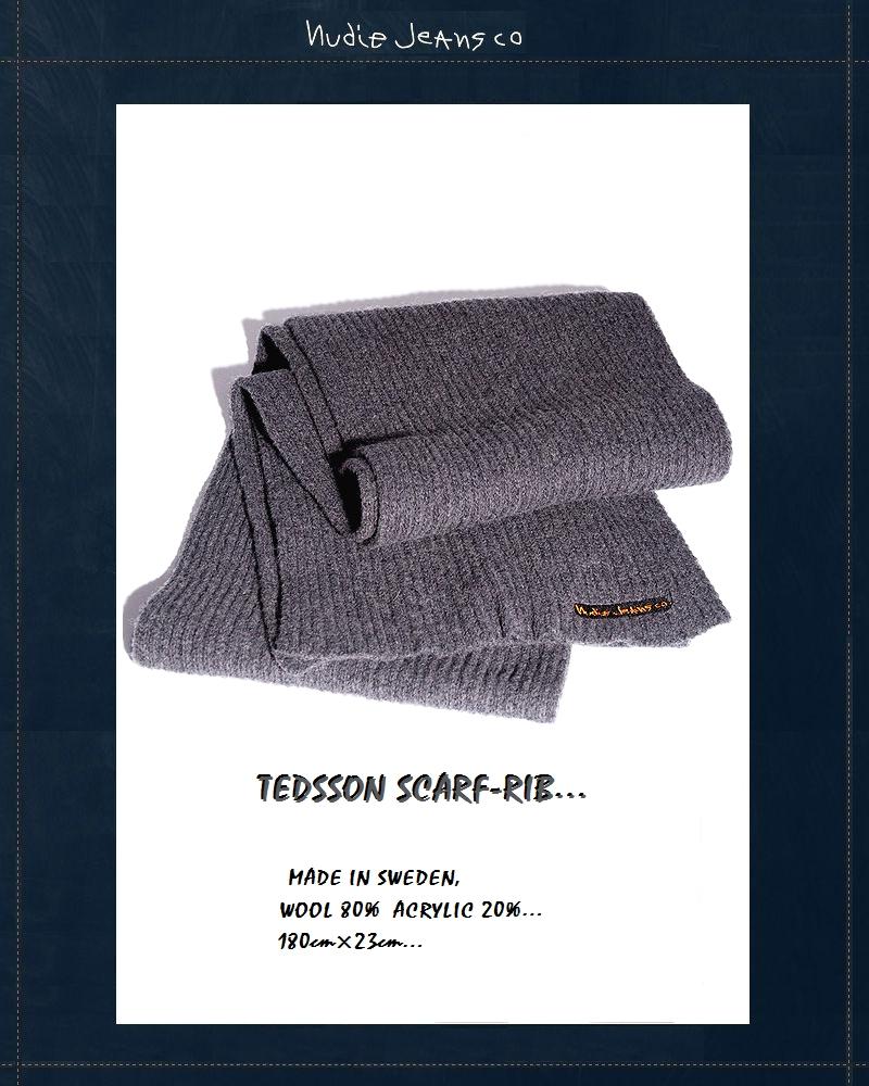 """【最大3000円OFFクーポン配布中~8月31日23:59迄】【NudieJeans""""リブマフラー/グレー】【ヌーディージーンズ正規取り扱い】"""