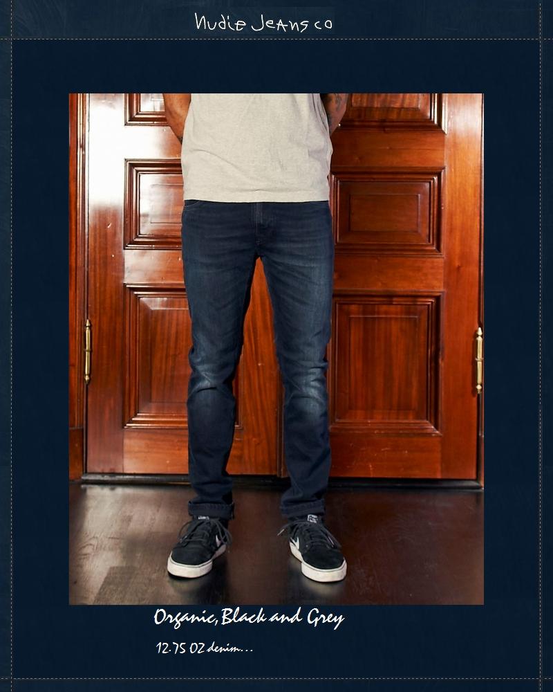 ヌーディージーンズ NudieJeans シンフィン オーガニック ブラック&グレー  L32ThinFinn Org.Black&Grey 北欧 スウェーデン デニム