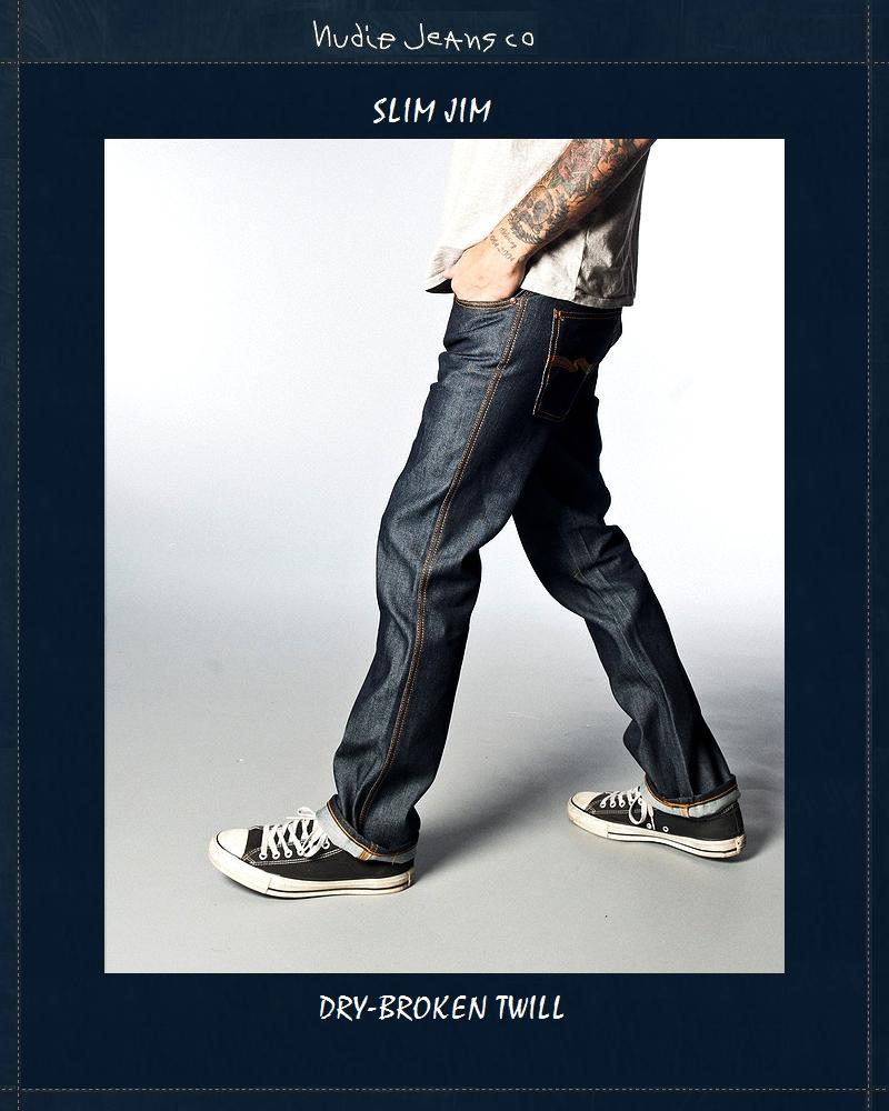 """【全品P2倍/最大10,000円OFFクーポン配布中】【NudieJeans""""SlimJim""""DryBrokenTwill】【ヌーディージーンズ""""スリムジム""""ドライ】"""
