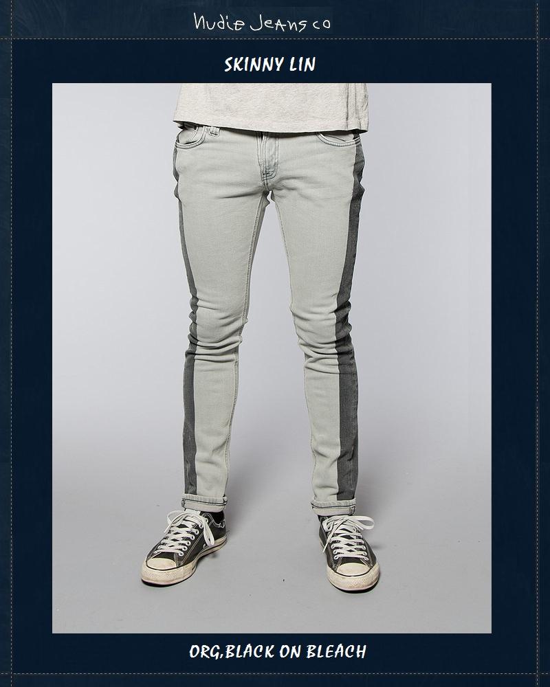 ヌーディージーンズ NudieJeans限定カプセルコレクション スキニーリン ブラックオンブリーチ L30SkinnyLin Org.Black.on.Bleach