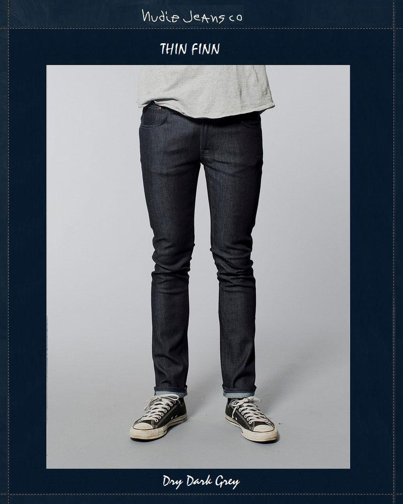 ヌーディージーンズ NudieJeans シンフィン ドライダークグレー L32ThinFinn DryDarkGrey北欧 スウェーデン デニム