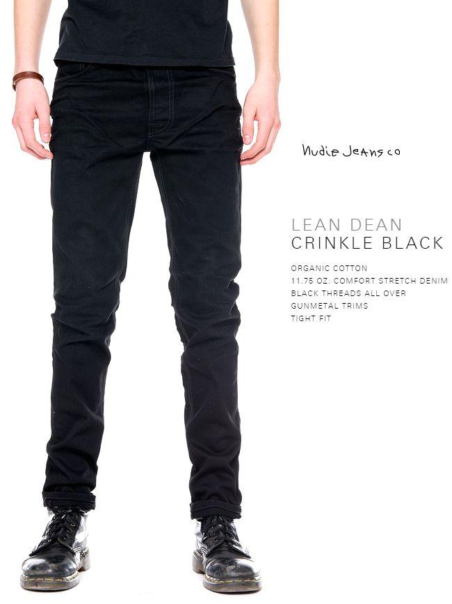 【全品P2倍】ヌーディージーンズ NudieJeans リーンディーン クリンクル ブラック L30Nudiejeans LeanDean CRINKLE BLACK 北欧 スウェーデン ブラックデニム