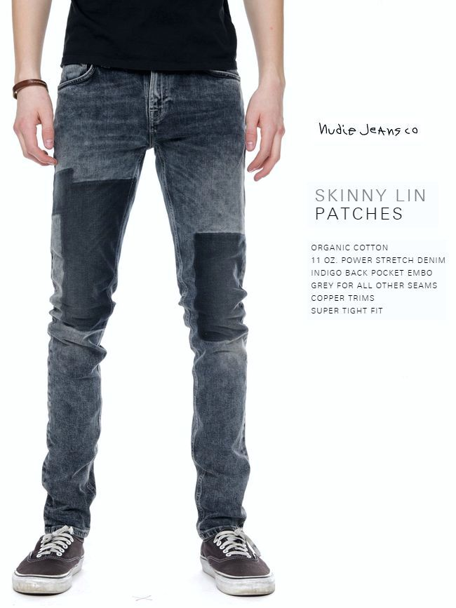 NudieJeans SkinnyLin PATCHES L30ヌーディージーンズ スキニーリン パッチデニム