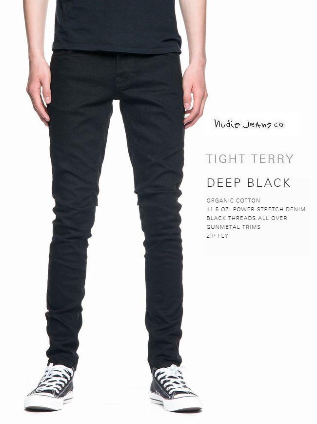 ヌーディージーンズ タイトテリー L30 ディープ ブラックNudieJeans TIGHTTERRY DEEP BLACKスウェーデン デニム