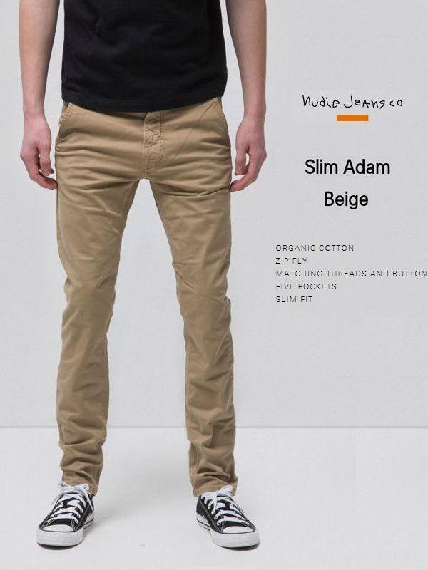ヌーディージーンズ スリムアダム チノパンツNudieJeans SlimAdam Beige ベージュ スウェーデン