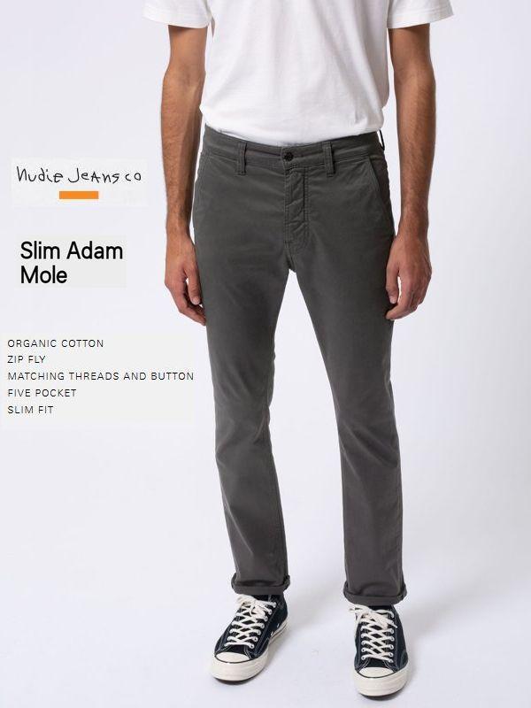 シーズンクリアランスヌーディージーンズ国内正規取り扱い ヌーディージーンズ スリムアダム チノパンツNudieJeans SlimAdam MOLE グレー スウェーデン