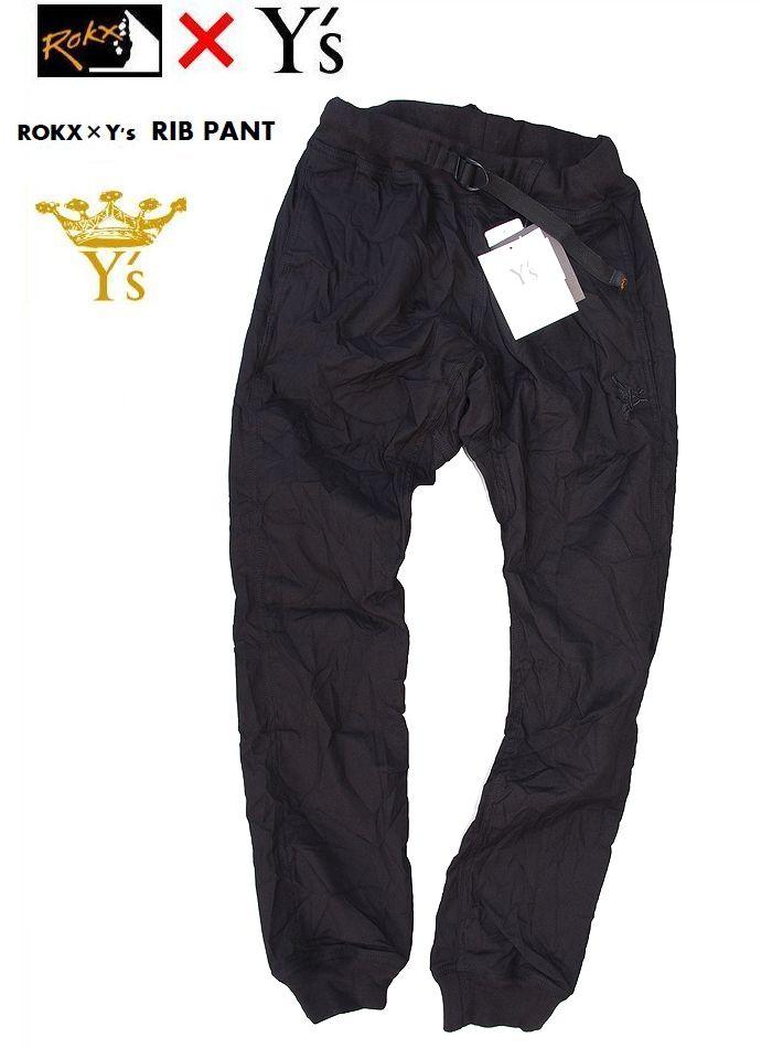 【全品P2倍】【ROKX Y's RIB PANT】【ロックス×ワイズ リブパンツ/ブラック】