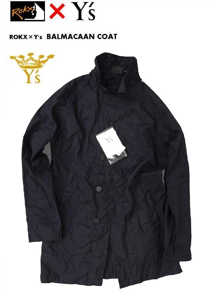 【全品P2倍】【ROKX Y's Balmacaan Coat】【ロックス×ワイズ バルマカーンコート/ブラック】
