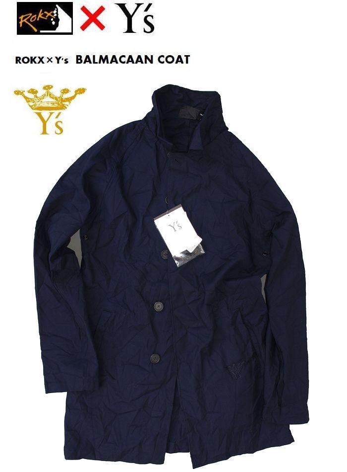 ROKX Y's Balmacaan Coatロックス 限定モデル ワイズ バルマカーンコート ネイビー ステンカラーコート ヨウジヤマモト
