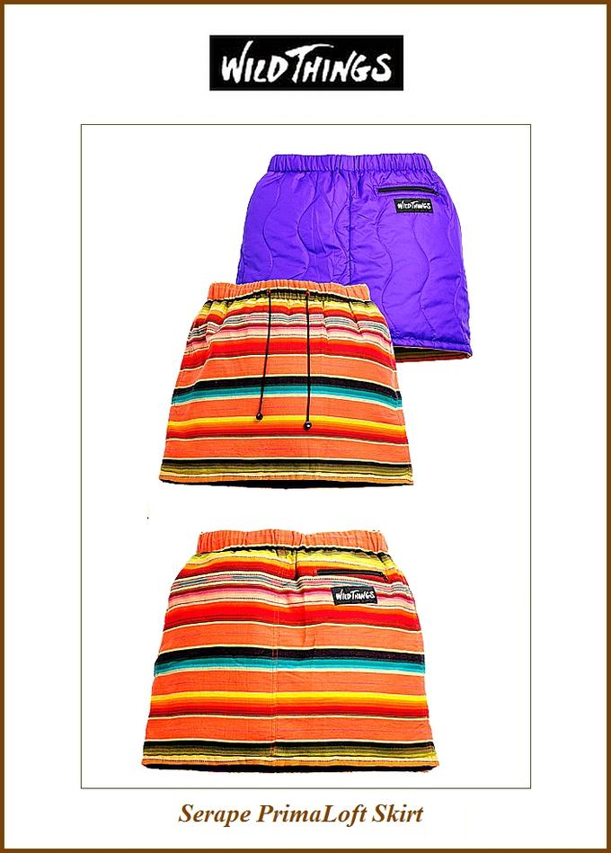 """【全品P2倍/最大10,000円OFFクーポン配布中】【Wild Things】【SERAPE""""PrimaLoft-Skirt""""pink】【ワイルドシングス""""セラペスカート】"""