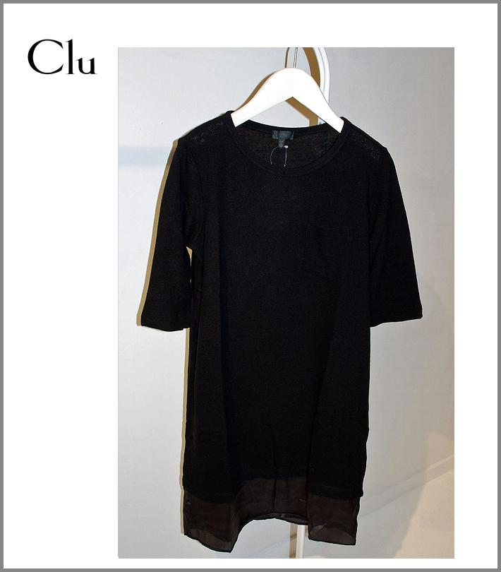CLU【レイヤード・ポケットワンピース/ブラック】