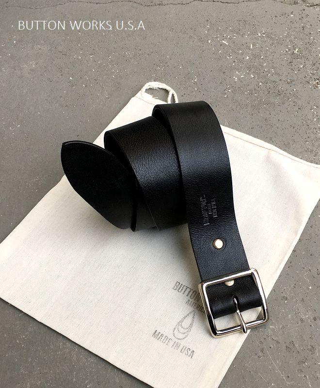 【全品P2倍】ボタンワークス アメリカ レザーベルト アメリカ製 ButtonWorks America LeatherBelt Black