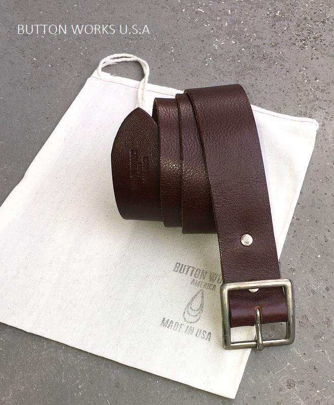 ボタンワークス アメリカ レザーベルト アメリカ製 ButtonWorks America LeatherBelt Brown
