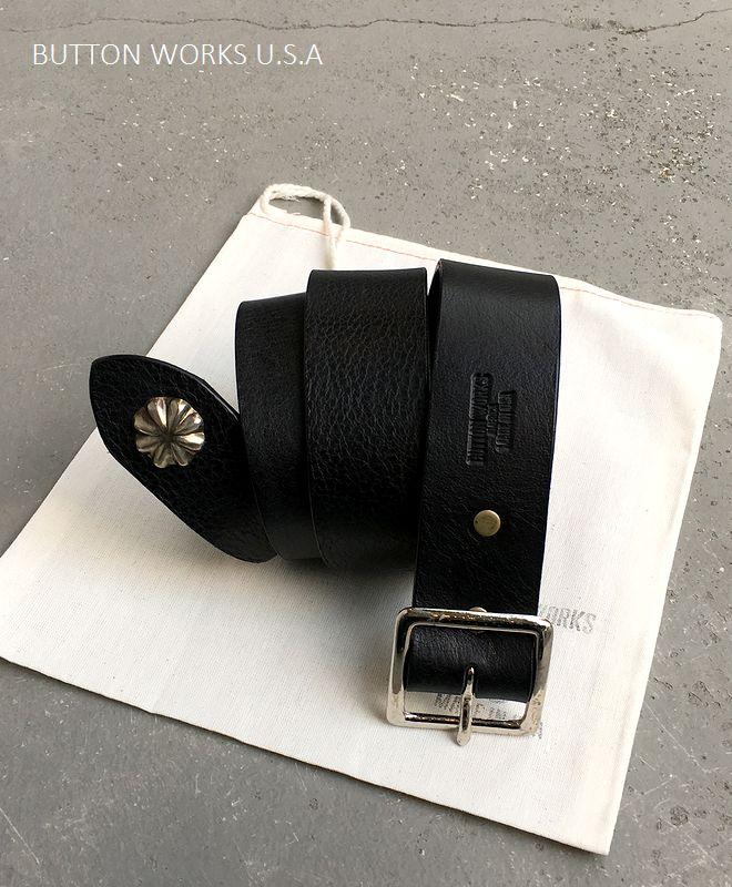 【全品P2倍/最大10,000円OFFクーポン配布中】ボタンワークス アメリカ エンドコンチョ ベルト アメリカ製 ButtonWorks America EndConcho Belt Black
