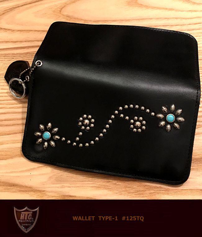 "79326862753d Flower-LongWallet""Black/Turquoise】【02P23Aug15】 HTC #125Type1StudsWalletBlackSilverstuds/TQHTCスタッズウォレット ..."