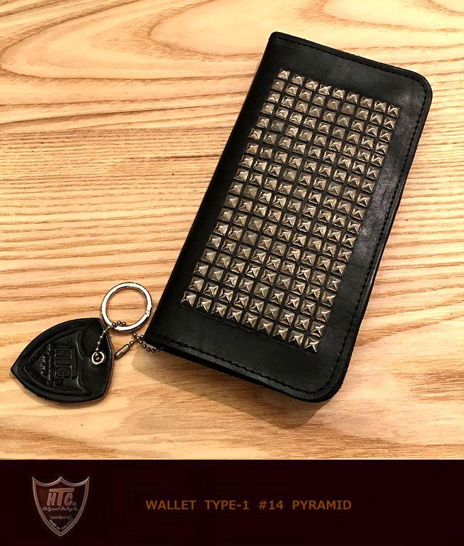 【全品P2倍】HTC ♯14Pyramid Type1 StudsWallet Black/silverピラミッド スタッズウォレット 財布 札入れ カードケース madeinUSA アメリカ製 画像現品2