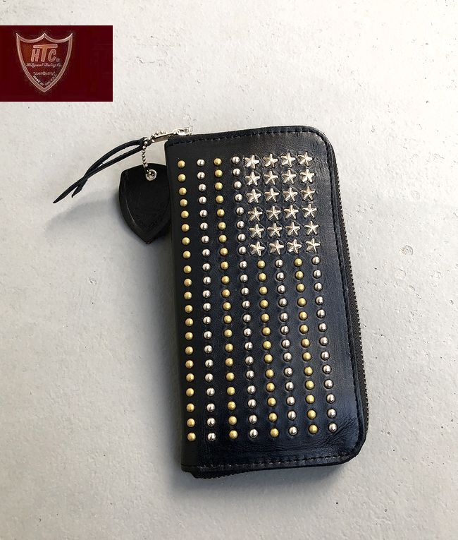 【全品P2倍/最大10,000円OFFクーポン配布中】HTC US FLAG Zipper StudsWallet HollywoodTradingCompany星条旗 スタッズ ジッパーウォレット ハリウッドトレーディングカンパニー アメリカ製 made in USA