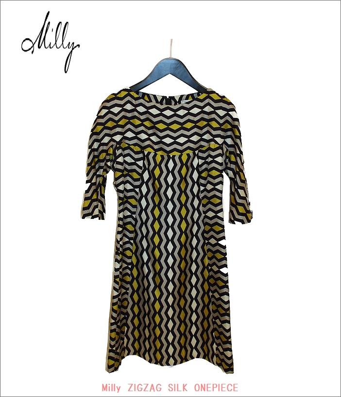 "MILLY【ミリー""ジグザグ・シルクワンピース""Yellow】"