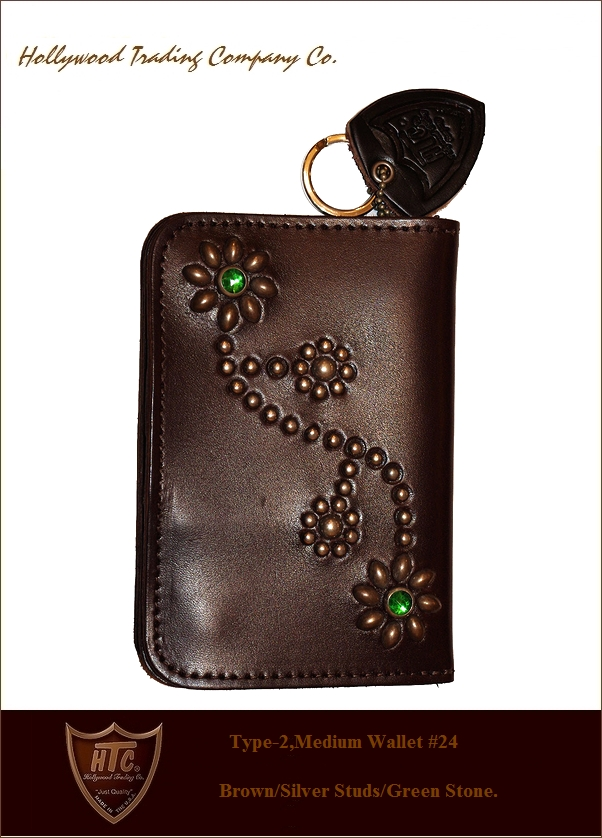 "HTC【♯24""Flower-StudsWallet""Brown/silver/Green】"