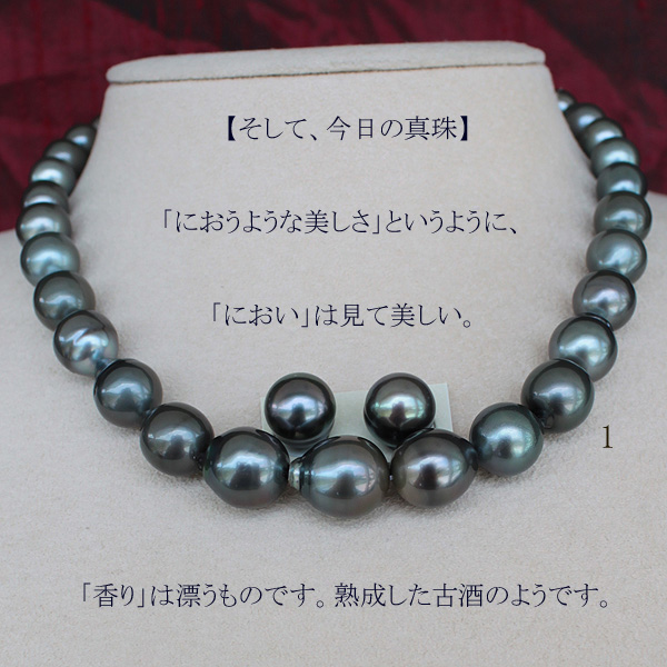 ●黒蝶真珠<Peacock Green>8-12mm <Excellent Special>Necklace&<Titan Piace>直結 or ブラ