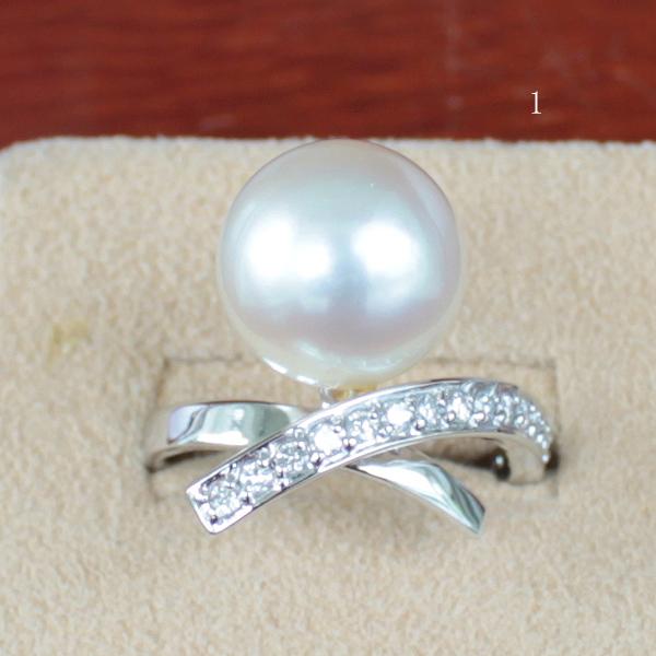 ●K18WG<リング>ダイヤ 0.28ct 白蝶真珠 12-12.5mm●K18WG ピアス兼用イヤリング 白蝶真珠ペア 11.25-11.5mm●アコヤ真珠越し物 Necklace 8.5-9mm※Piace 兼用 EarringとNecklaceはオプションです。