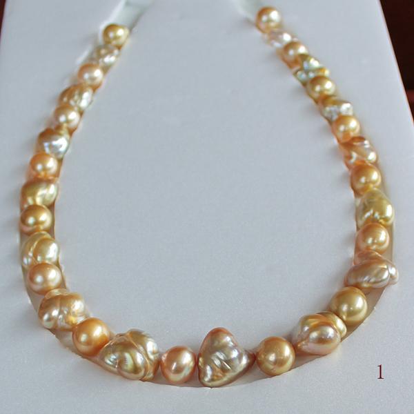 【天然真珠】<白蝶真珠ケシ&白蝶真珠>濃い黄金色●10-16.5mm(横幅)<Baroque Shape>31コ <Excellent Special>Necklace