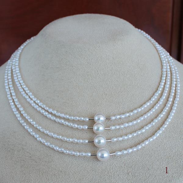 【知的Necklace】●アコヤ真珠越し物 6.5-7mm×4コ池蝶真珠<Natural>2-2.5mm×4連段差K18WG/K14WG クラスプ 42cm+4cm アジャスター
