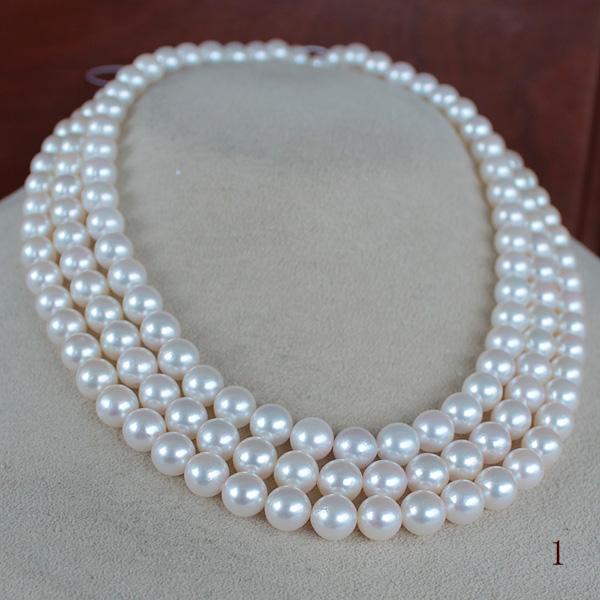 ●アコヤ真珠越し物<Top quality> 7-7.5mm 三連 丁度の段差金具込み全長38cm~<ホワイトピンク><Round Shape><Excellent Special>Necklace