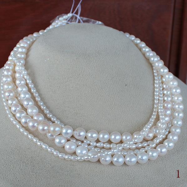 アコヤ真珠 6.5-7mm×2<ホワイトピンク>&池蝶真珠3-4mm×3<ホワイトピンク>1way 38~44cm同寸 5連 2way ツイスト<Twist>5連 ファッションネックレス<Fashion Necklace>