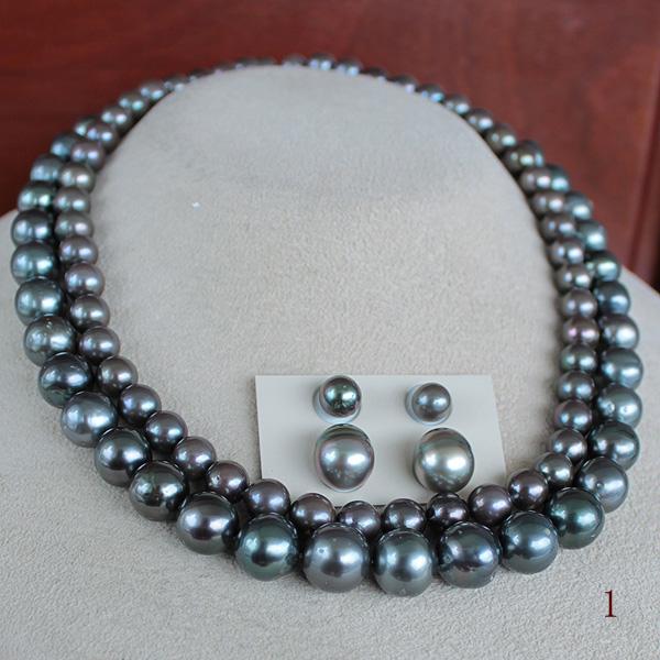 【Design】思考【innovation】 ●黒蝶真珠<Peacock><Round Shape>8-11mm・1連/アコヤ真珠越し物<Peacock+調色>7-7.5mm・1連クラスプ(内径13mm)SVフック×4コ(脱着可)+アジャスター6cm Necklace 丁度の段差 2連&<百合Swing>