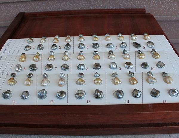 ●【天然真珠】白蝶真珠ケシ8-9mm×2/黒蝶真珠ケシ6.5-10mm×4<曲線・曲面><Natural Gold><Peacock><Titan Piace>直結 or ブラ※選択くださいませ。※SV EG その他はオプションです。