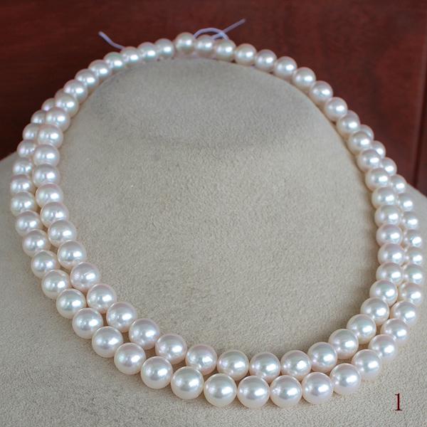 ●アコヤ真珠越し物<ホワイトピンクの彩り><Top quality><Round Shape>7.5-8mm 90cm~スプリングクリップ<Excellent Special>Necklace