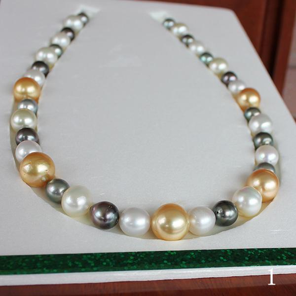 ●白蝶真珠/黒蝶真珠<Multi>8-14.5mm×37コ <Natural White><Natural Gold><Peacock><Round&oval Shape><Excellent Special>Necklace