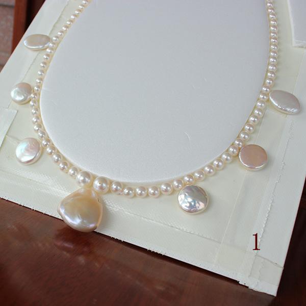 """18/"""" Blanc Shell collier avec bleu Coco Perles 10/"""" 16/"""""""