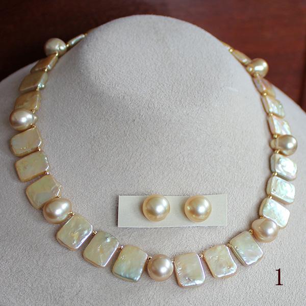 ●琵琶真珠 9-11mm(横幅)/白蝶真珠 9-10mm(横幅)<Natural++調色Gold>K18 Necklace 35cm+7cmアジャスター●白蝶真珠ペア<NaturalGold>10.5-11mm<Round Shape>K18 ピアス直結