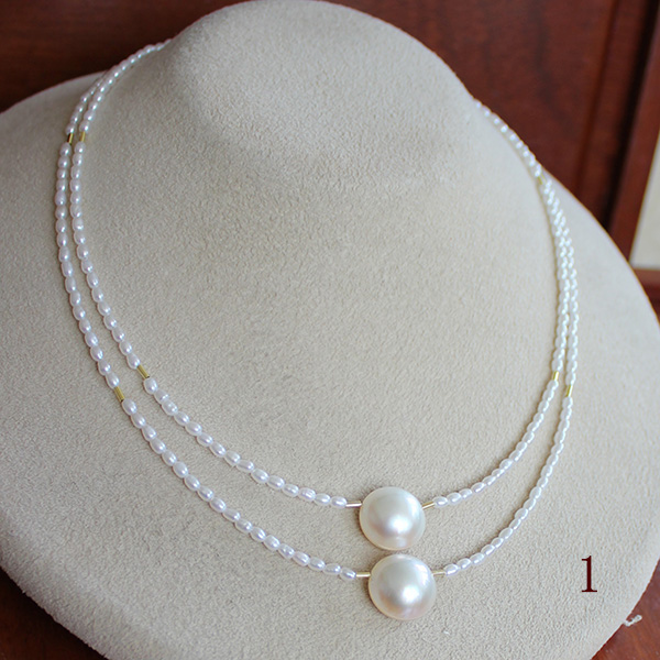 【知的Necklace】●マベ真珠 13.25-14mm(横幅)×2コ池蝶真珠<Natural>2-2.5mm×2連段差SV CL 42cm+6cmアジャスター