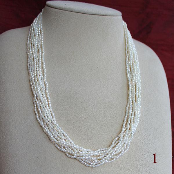 ●【天然真珠】アコヤケシ<NaturalWhite>2-2.5mm<Excellent Special>Necklace10連 全長52cm CL:SV<6-7mmアコヤ真珠無調色×3コ>【値ごろ感】