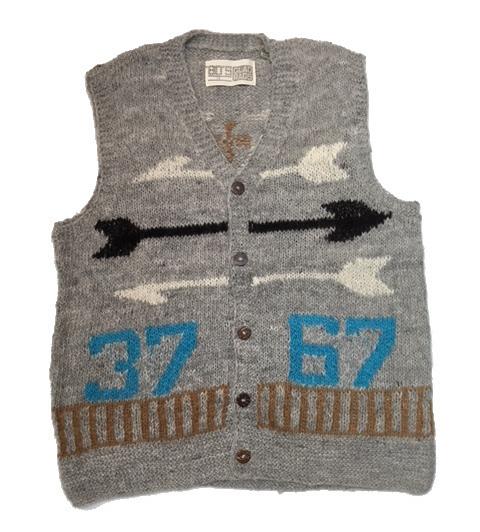 ボウズグラッドラグス ベスト メンズ レディース ニット K17-03LGY 'BO'S GLAD RAGS Hand-Spun Hand-Knit Gray Vest 37-67