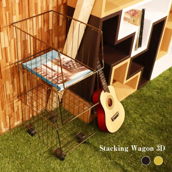 【送料無料】スタッキングワゴン3D AKB-438 モダン オシャレ カジュアル リビング ダイニング 洗面 寝室 かわいい カフェ 新生活 スタイリッシュ スチール スタッキング 積み重ね可 便利 3段 W26.5×D37.5×H73cm 家具 インテリア 収納 簡単 ゴールド ブラック 男前