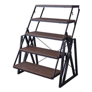ムービングシェルフテーブル DIS-500BK シェルフ 可動式 階段シェルフ テーブル レイアウト変更 トランスフォーム 収納 おしゃれ 一人暮らし 模様替え かわいい シンプル 新生活 北欧 店舗 デザイン 家具 インテリア スタイリッシュ センターテーブル ダイニング