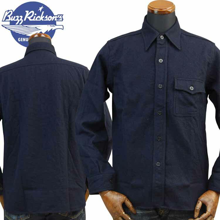 バズリクソンズBUZZ RICKSON'S Type C.P.O SHIRTS BLUE FLANNEL SHIRTSブルーフランネルシャツ「NAVY DEPARTMENT」BR24961