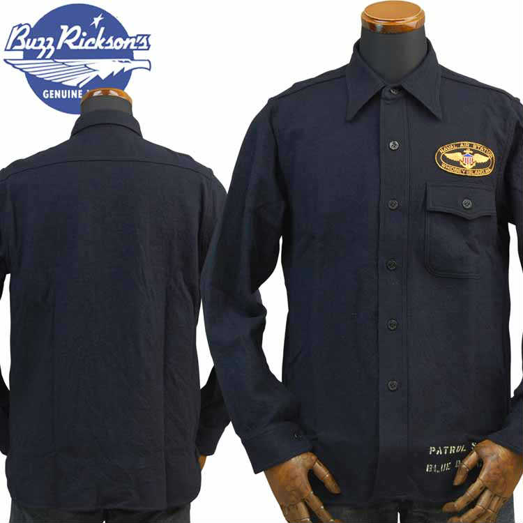 バズリクソンズBUZZ RICKSON'S Type C.P.O SHIRTS BLUE FLANNEL SHIRTSブルーフランネルシャツ「NAVALAIR STATION WHIDBEY ISLAND」BR27946