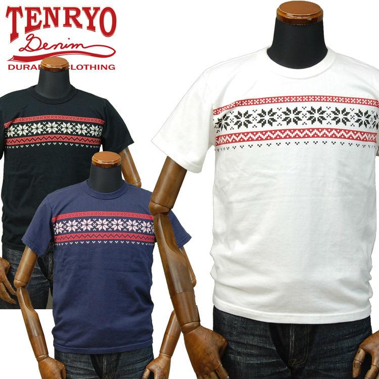倉敷天領デニム TENRYO DENIM オリジナル吊り編み雪柄Tシャツ「TDT022」/LOOPWHEEL/アメカジ/メンズ