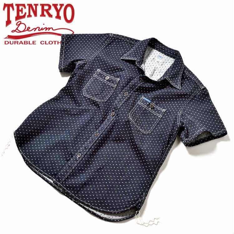 倉敷天領デニム TENRYO DENIM ポルカドットジャガード半袖ワークシャツ「TDS036」