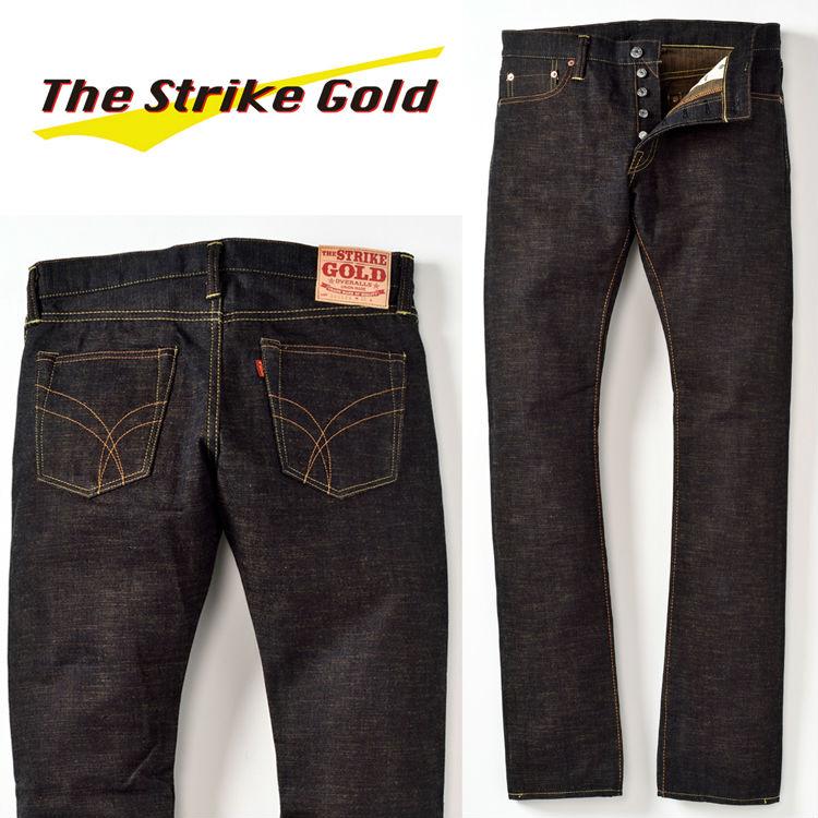 THE STRIKE GOLDストライクゴールド クラシックシリーズ オリジナル右綾15oz横ベージュスラブセルビッチ スリムテーパードストレートジーンズ SG5209