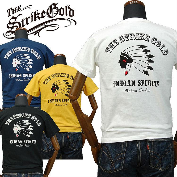 ストライクゴールド THE STRIKE GOLD オリジナル吊り編みTシャツ「INDIAN SPIRITS」SGT028/LOOPWHEEL/アメカジ/メンズ