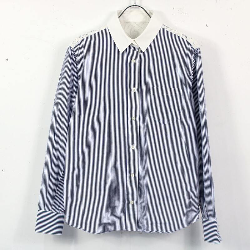 メーカー公式 sacai サカイ レースドッキングストライプシャツ ネイビー×ホワイト おしゃれ まとめ買い特価 O312012-P-47602774795b034 2 古着 美品
