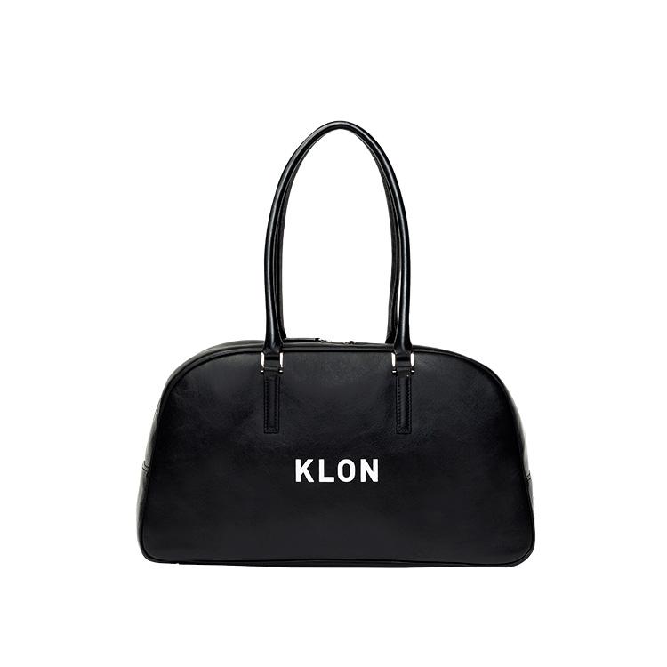 KLON ACTIVE LEATHER BAG BOSTON TYPE BLACK , レディース メンズ 秋 冬 バッグ 鞄 黒 レザーバッグ ボストンバッグ 本革 シンプル モノトーン バッグ クリスマス
