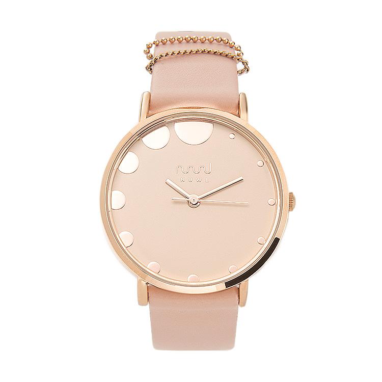 NUWL MISTY DOT DUSTYPINK , レディース 女性 腕時計 ピンク シンプル かわいい 生活防水 誕生日 夏 腕時計 ギフト プレゼント 社会人 祝い ペールカラー