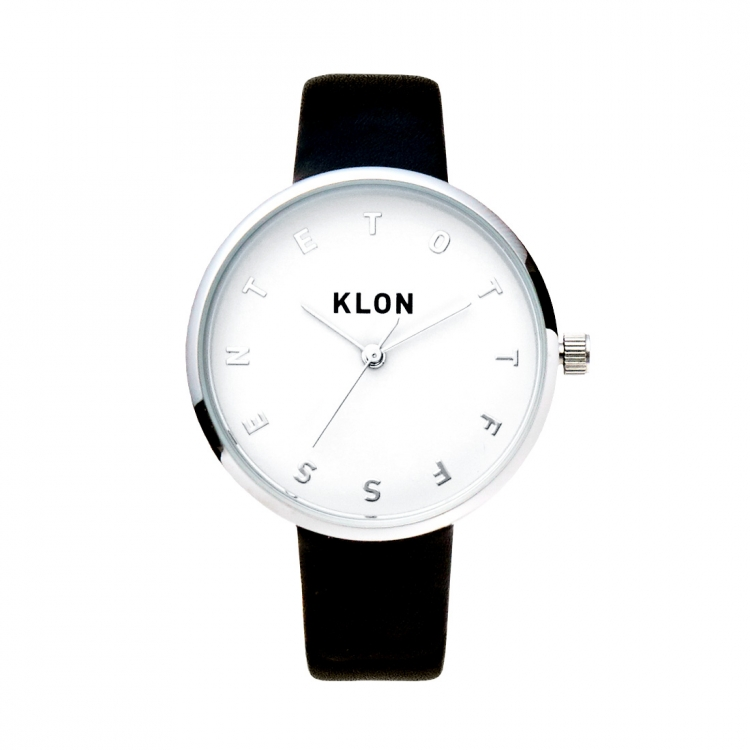 KLON ALPHABET TIME BLACK Ver.SILVER 33mm , クローン レディース メンズ 腕時計 黒 シンプル モノトーン モノクロ 誕生日 夏 腕時計 入学祝い ギフト プレゼント お揃い 祝い ギフト プレゼント